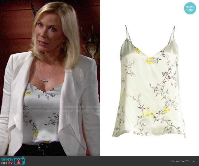 L'Agence Jane Floral Silk Camisole worn by Brooke Logan (Katherine Kelly Lang) on The Bold & the Beautiful