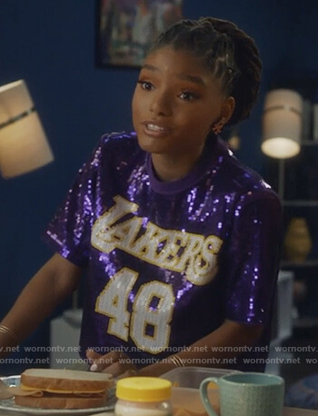 Skylar's purple sequined Lakers top and camo pants on Grown-ish