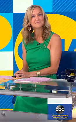 Lara's green asymmetric dress on Good Morning America