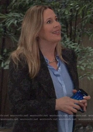 Laura's blue button down blouse and black blazer on General Hospital
