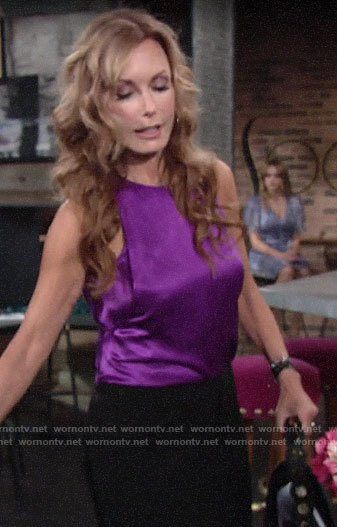 Lauren's purple satin top on The Young and the Restless