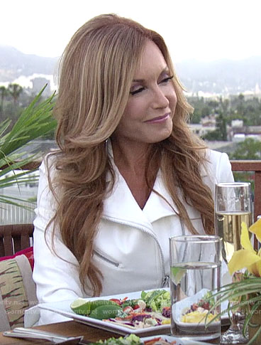 Lauren's white moto jacket on The Young and the Restless