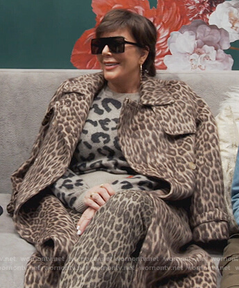 Kris's leopard print sweater and coat on Keeping Up with the Kardashians