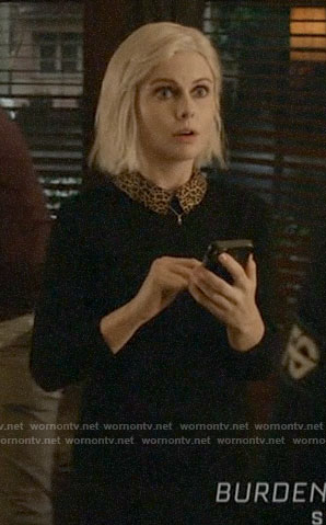 Liv's black sweater with leopard collar on iZombie