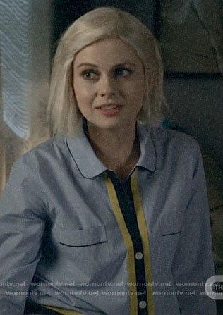 Liv's blue pajamas with yellow trim on iZombie