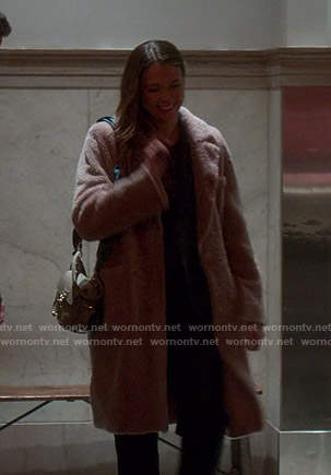 Liza's pink shearling coat on Younger