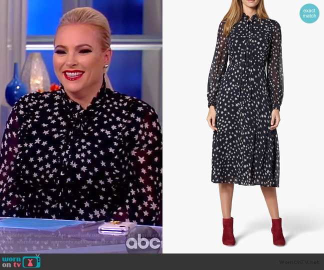 Filia Star Print Silk Flared Dress by LK Bennett worn by Meghan McCain  on The View