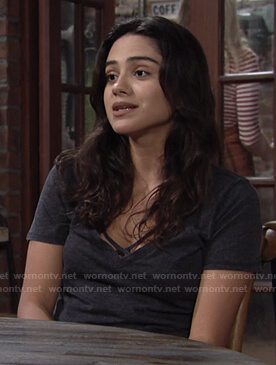 Lola's black cross strap tee on The Young and the Restless