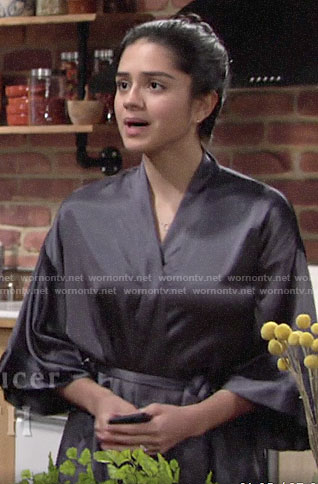 Lola's grey satin robe on The Young and the Restless
