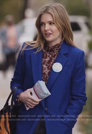 Sutton's blue coat on The Bold Type