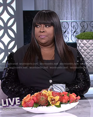 Loni's sequin sleeve peplum jacket on The Real