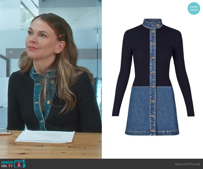 Stonewashed Denim Bi-Material Dress by Louis Vuitton worn by Liza Miller (Sutton Foster) on Younger