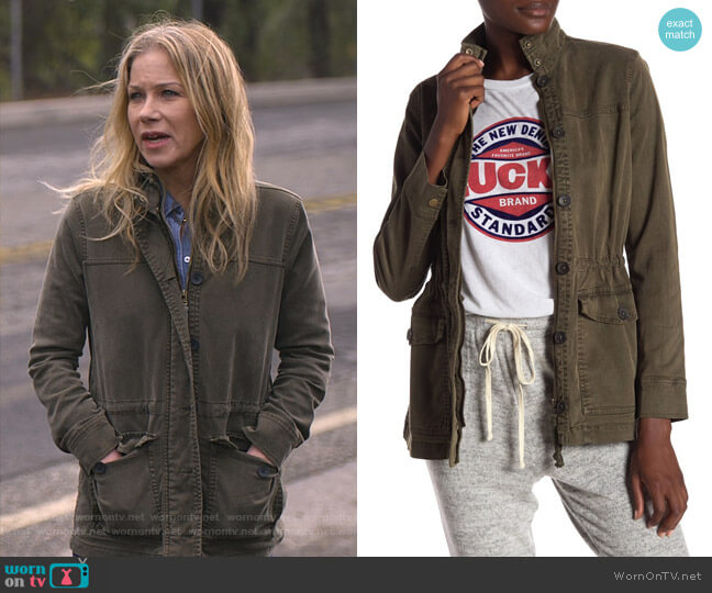 Utility Long Sleeve Jacket by Lucky Brand worn by Jen Harding (Christina Applegate) on Dead to Me