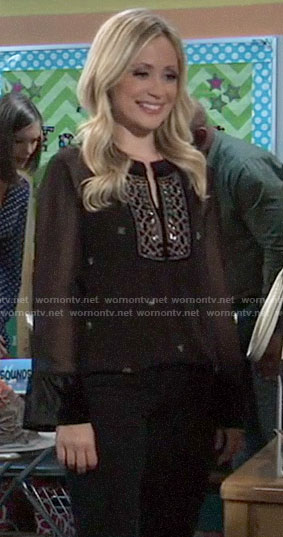 Lulu's black embellished top on General Hospital