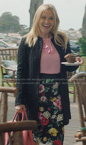 Madeline's black floral skirt and pink ruffled top on Big Little Lies