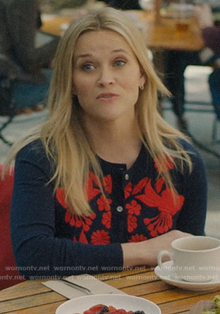 Madeline's navy and red embroidered cardigan on Big Little Lies