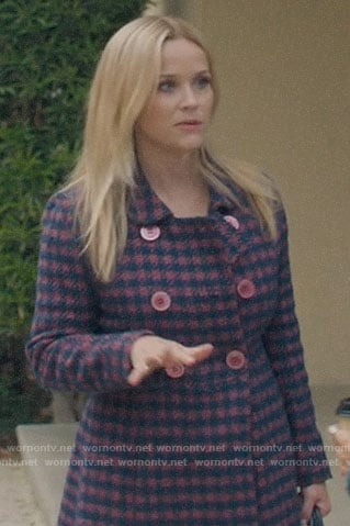Madeline's pink houndstooth coat on Big Little Lies