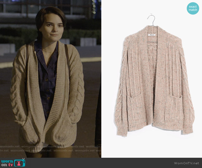Bubble-Sleeve Cableknit Cardigan Sweater by Madewell worn by Elodie Davis (Brianna Hildebrand) on Trinkets