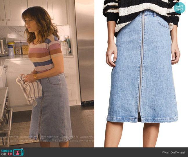 Zip Front Midi Skirt by Madewell worn by Judy Hale (Linda Cardellini) on Dead to Me