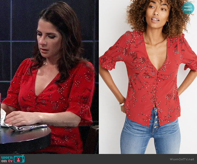 Madewell Windswept Floral Daylight Top worn by Sam McCall (Kelly Monaco) on General Hospital