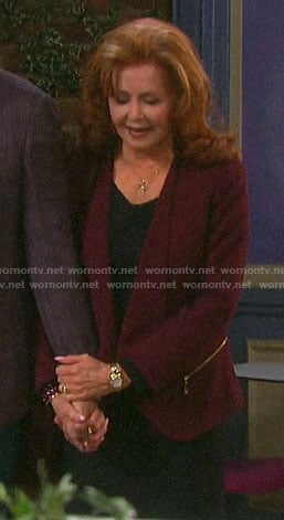 Maggie's burgundy zip-pocket blazer on Days of our Lives