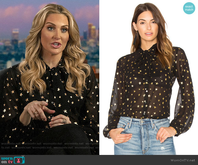 Maison Scotch Sheer Star Tie Neck Blouse  worn by Stephanie Pratt  on The Hills New Beginnings