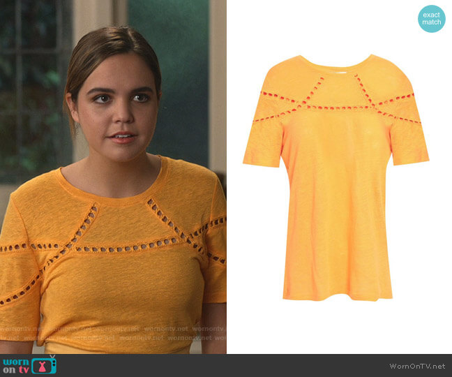 Crochet-Trimmed Slub T-shirt by Maje worn by Grace Russell (Bailee Madison) on Good Witch