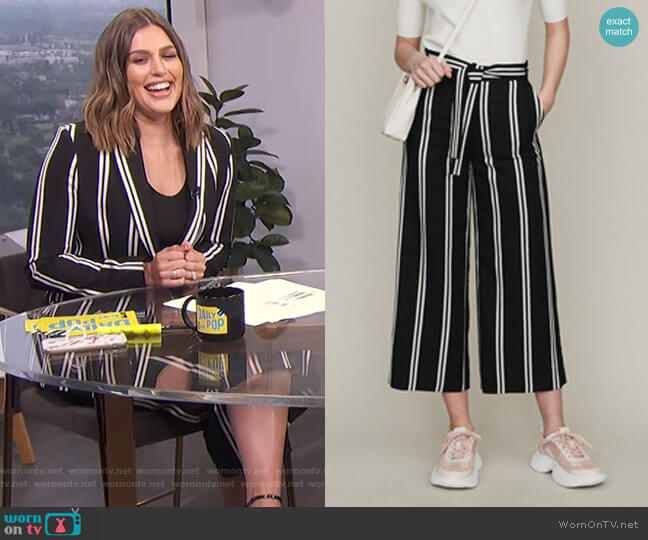 Wide 7/8 Striped Pants by Maje worn by Carissa Loethen Culiner  on E! News