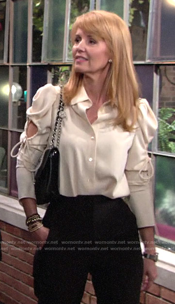 Mallory's blouse with cutout sleeves on The Young and the Restless