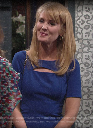 Mallory's blue cutout dress on The Young and the Restless