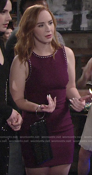 Mariah's burgundy studded trim dress on The Young and the Restless