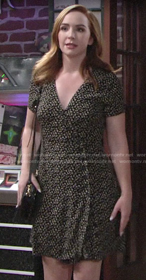 Mariah's floral button-front dress on The Young and the Restless