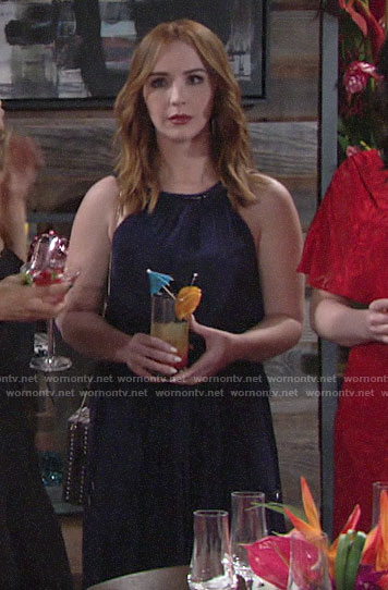 Mariah's navy dress at Lola's bridal shower on The Young and the Restless