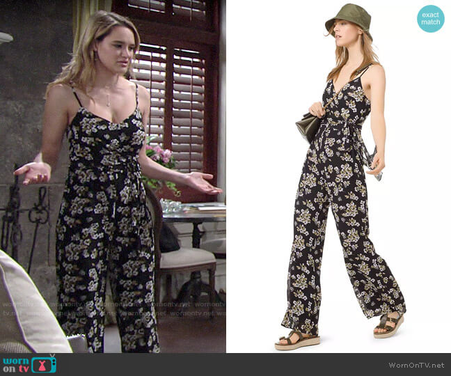 MICHAEL Michael Kors Glam Fleur Cami Jumpsuit worn by Summer Newman (Hunter King) on The Young & the Restless