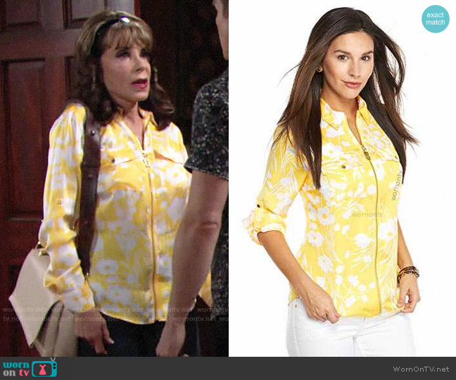 MICHAEL Michael Kors Zip Front Roll Sleeve Shirt  worn by Esther Valentine (Kate Linder) on The Young & the Restless