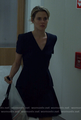 Trish's navy peplum dress on Jessica Jones