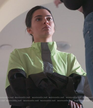 Kendall's neon windbreaker jacket on Keeping Up with the Kardashians