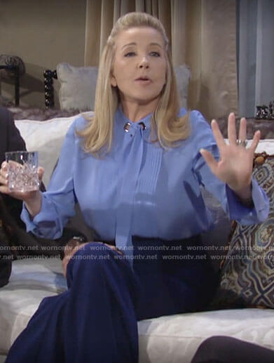 Nikki's blue tie neck blouse on The Young and the Restless