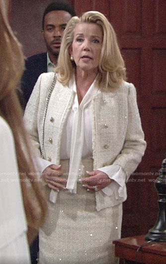 Nikki's sparkly tweed skirt suit on The Young and the Restless
