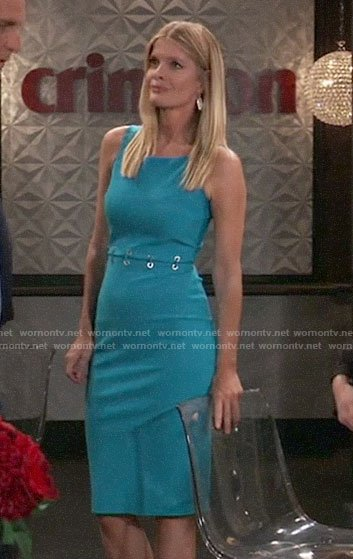 Nina's blue dress with lace-up waist on General Hospital
