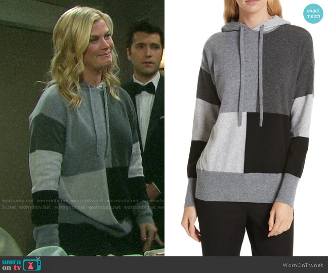 Nordstrom Signature Colorblock Cashmere Hoodie worn by Sami Brady (Alison Sweeney) on Days of our Lives