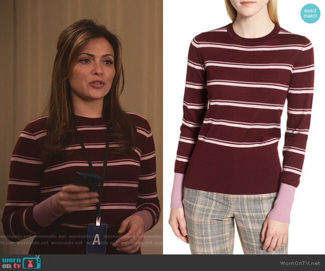 Stripe Cashmere Sweater by Nordstrom Signature worn by Emily Rhodes (Italia Ricci) on Designated Survivor