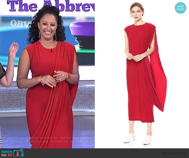 Sleeveless Draped Long Dress by Norma Kamali worn by Tamera Mowry  on The Real