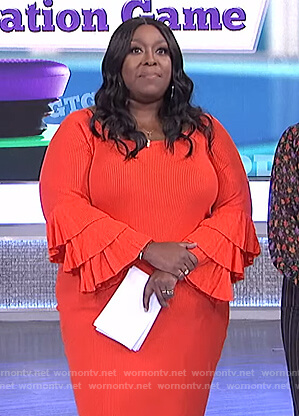 Loni's orange bell sleeve dress on The Real