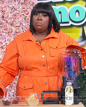 Loni's orange utility dress on The Real