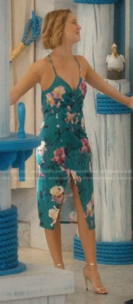 Petra's green floral draped dress on Jane the Virgin