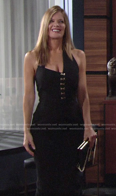 Phyllis's black asymmetric halter dress on The Young and the Restless
