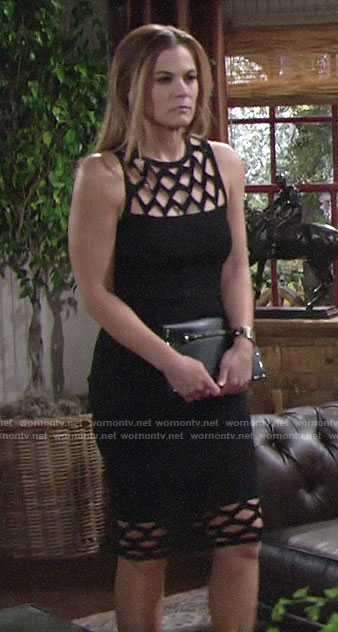 Phyllis's black cage cutout dress on The Young and the Restless