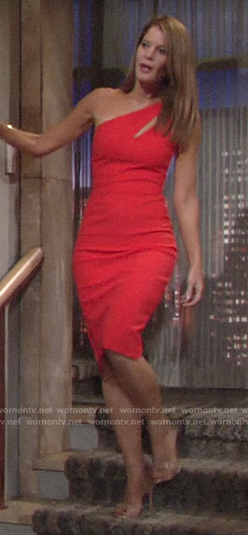 Phyllis's red one-shoulder dress on The Young and the Restless