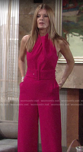 Phyllis's pink belted jumpsuit on The Young and the Restless